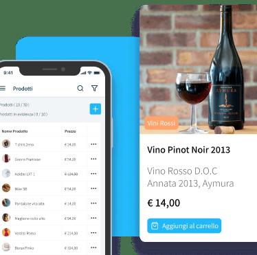 lista dei prodotti e scheda prodotto vino