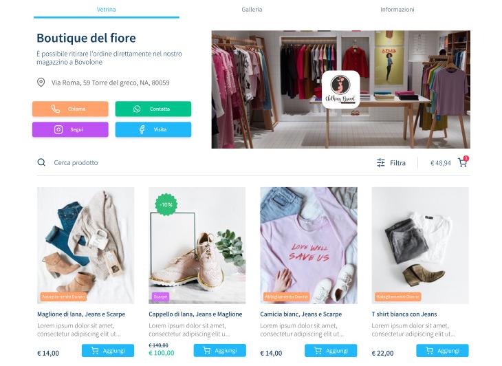 boutique del fiore vetrina online