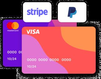 metodi di pagamento carte di credito e debito stripe e paypal